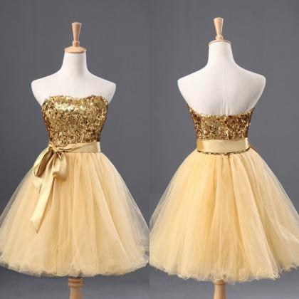 Elegant Sweetheart Yellow Short Bri..