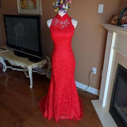 sexy red backless mermaid formal d..