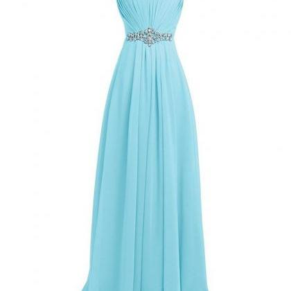 Light Blue Rhinestone Bridesmaid Dr..