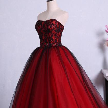 Charming Red Ball Gown Prom Dresses..