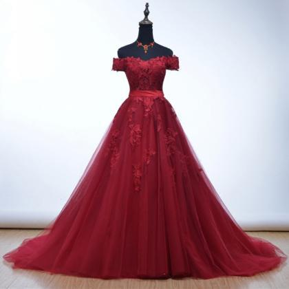 Charming Burgundy Evening Dresses W..