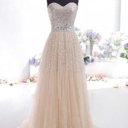Long Champagne Prom Dresses With Be..