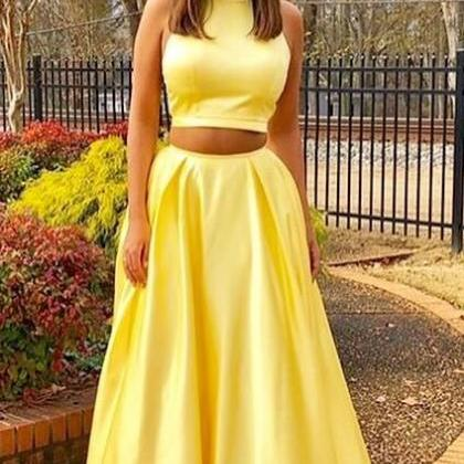 2018 New Long Yellow 2 Piece Prom D..