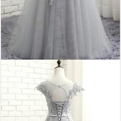 Gray Long Prom Dresses,Lace Appliqu..