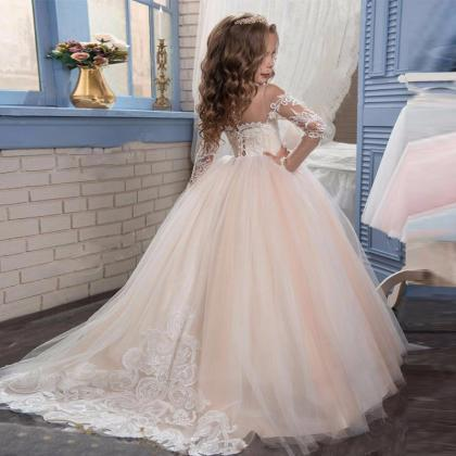 long sleeve flower girl dress,girls..
