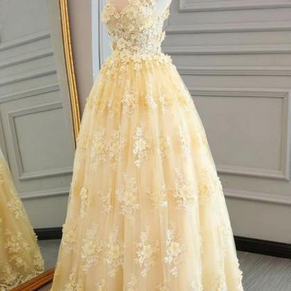 Long Prom Dresses Yellow Sheer Neck..