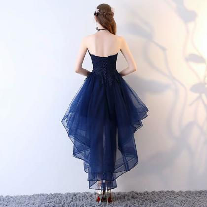 Navy Blue High Low Prom Dress , Gra..