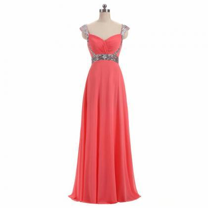 2019 A Line Chiffon Prom Dresses Chiffon Cap Sleeve Sequin Women Party Dresses