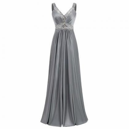 Grey Evening Dresses 2019 Satin Wed..