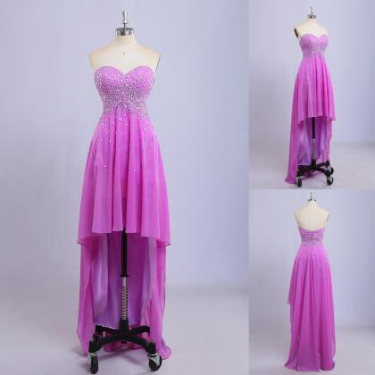 lilac prom dresses,high low prom dr..