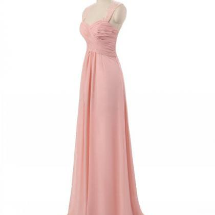 Pink Chiffon Prom Dresses With Lace..
