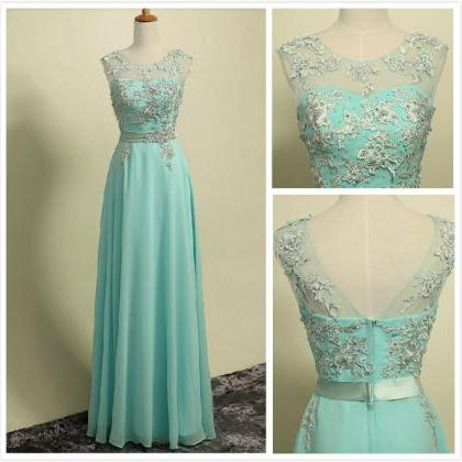 Long Mint Green Chiffon Formal Dres..