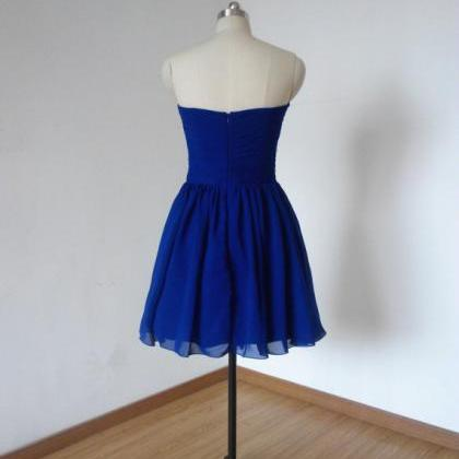 Short Royal Blue Chiffon Short Dres..