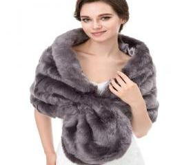 Grey Faux Fur Bolero..