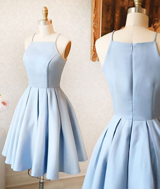 3cf5724869e 2019 Sexy Short Light Blue Satin Prom Dress