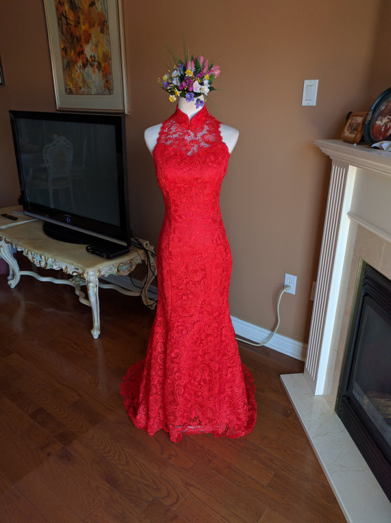 sexy red backless mermaid formal dress,red lace cheongsam, red lace wedding dress, red cheongsam
