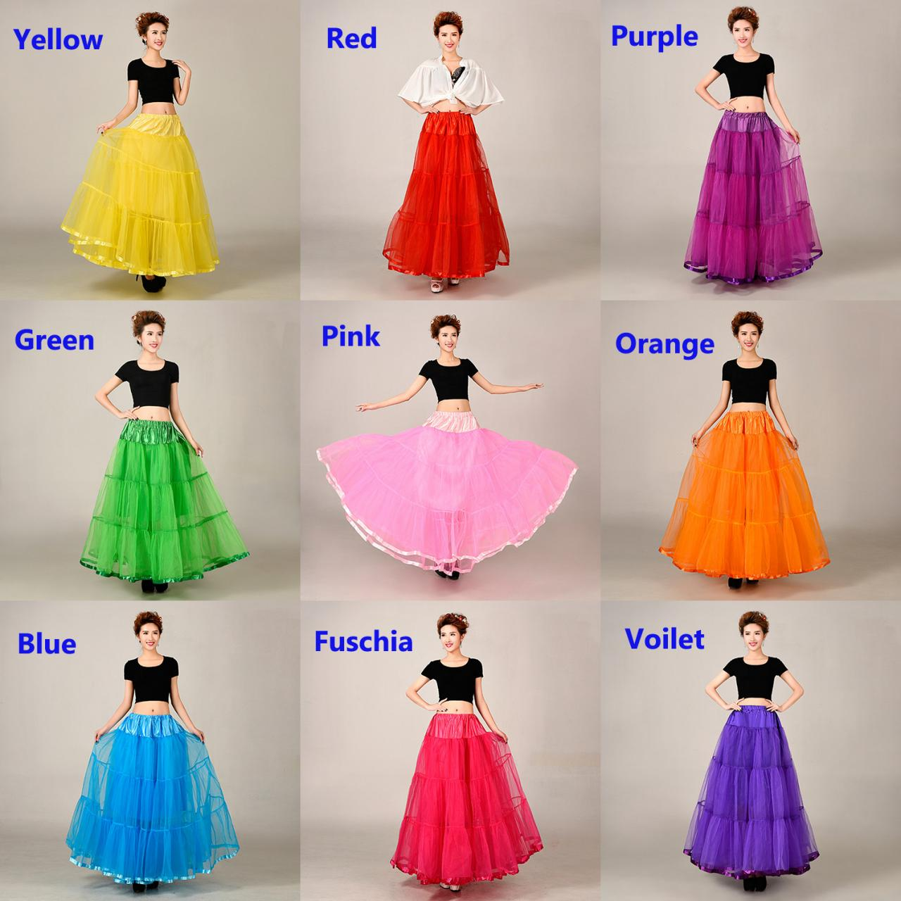 ANGELSBRIDEP 100cm Long Organza Petticoat Floor Length Female Tutu Skirts Underskirt Summer Style Jupe Femme Skirt