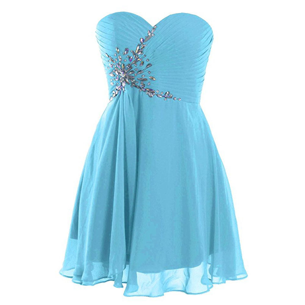 c6a785c55f4 Light Blue Rhinestone Chiffon Homecoming Dress With Sweetheart Neck ...