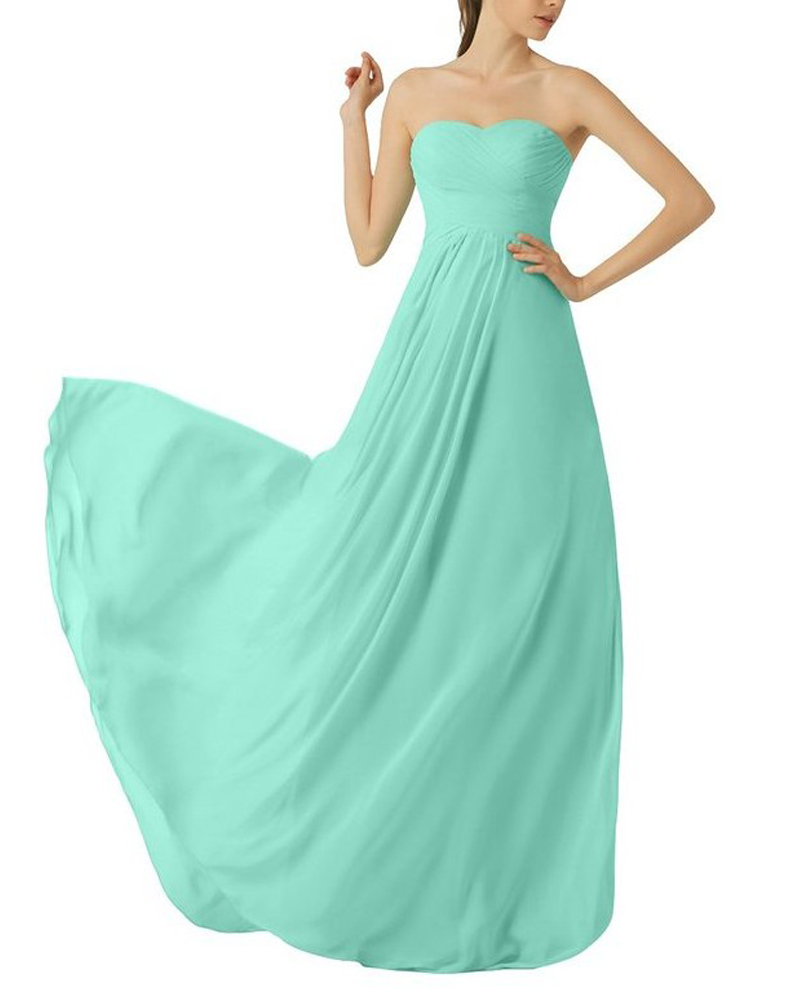 Mint Green Bridesmaid Dress,Floor Length Chiffon Strapless ...