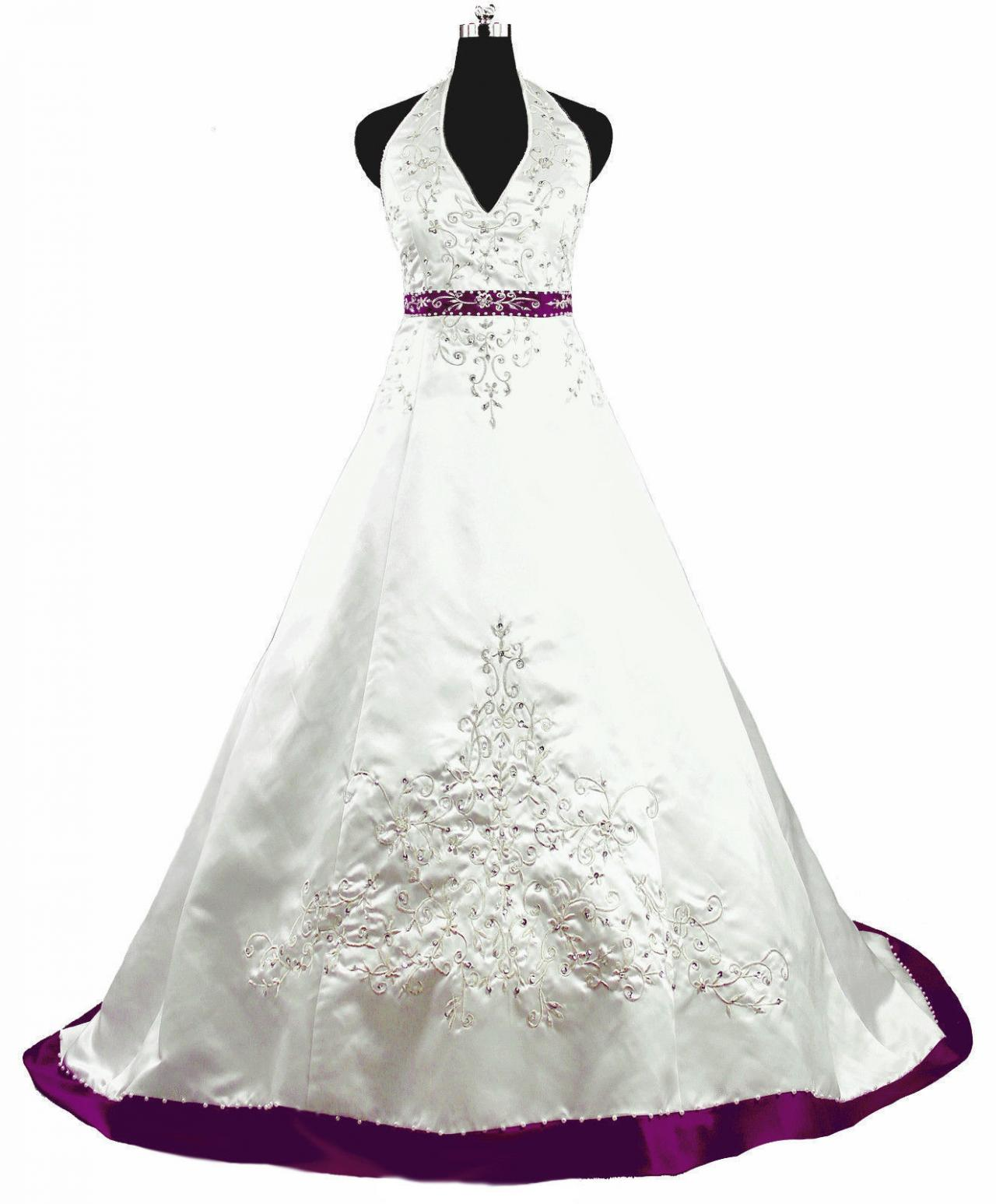 2017 Halter Embroidered Purple Wedding Dresses Long New Satin Beading Chapel Train Bridal Gown