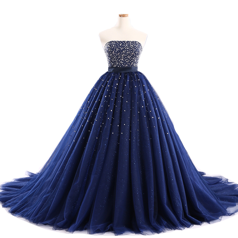 438114a9e8 Luxury Dark Navy Blue Ball Gown Prom Dresses Tulle Sweetheart Evening Gowns  With Beaded Bodice