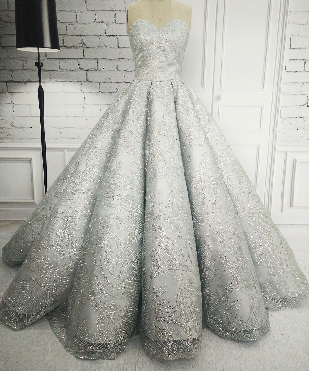 Luxury Ball Gown Grey Sparkly Wedding Dresses 2017 Long Sweetheart ...