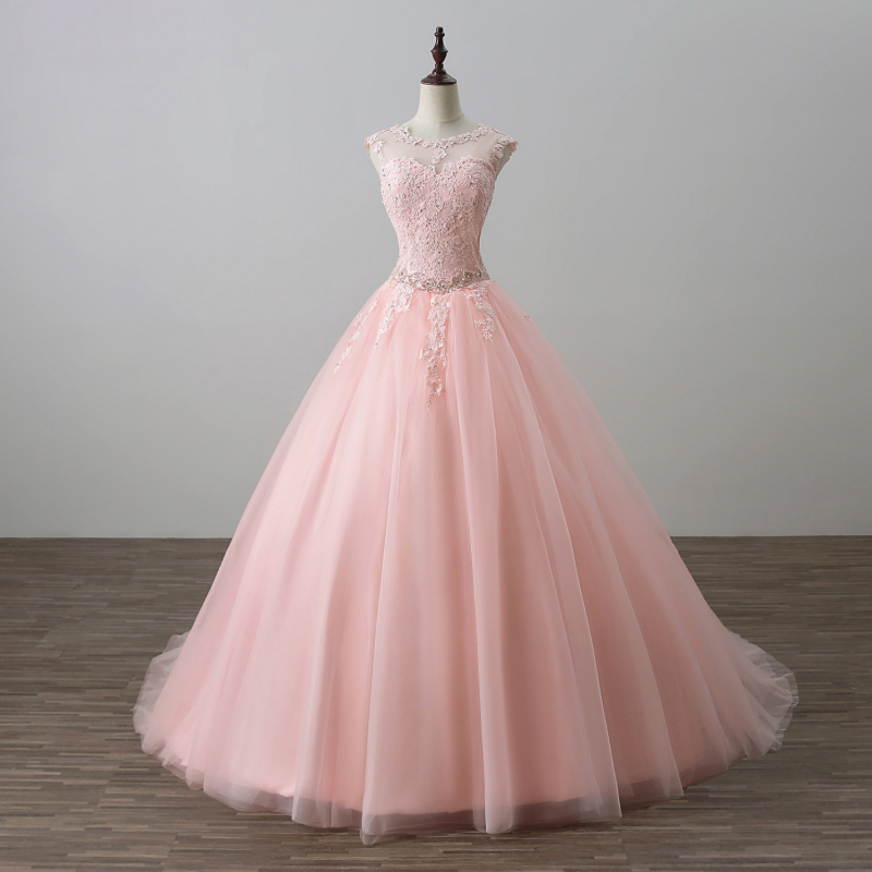 Long Pink Formal Dresses Featuring Sheer Neck And Lace Applique Bodice -- Long Elegant Prom Dress, Floor Length Tulle Evening Gown