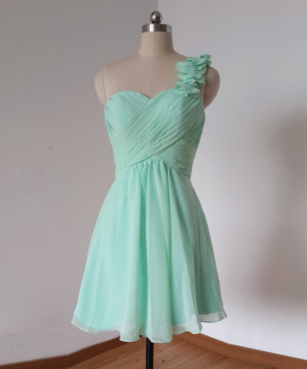 One Shoulder Mint Green Homecoming Dresses,Short Prom Dress ...