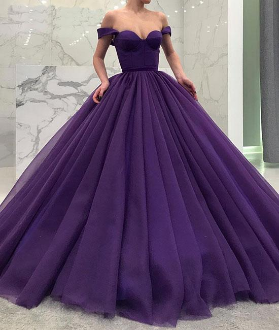 Dark Purple Long Tulle Ball Gown Formal Dress Featuring Off The ...