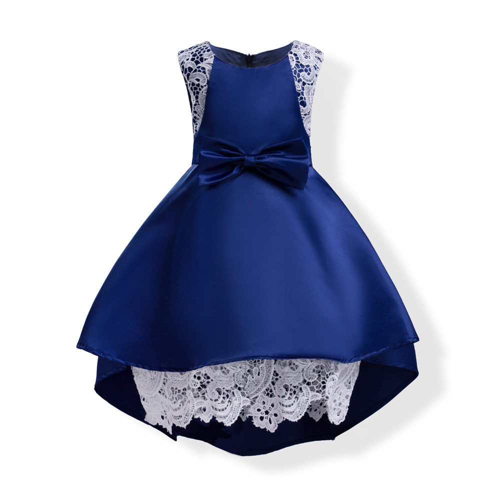 2018 High Low Navy Blue Flower Girl Dresses For Party And Wedding