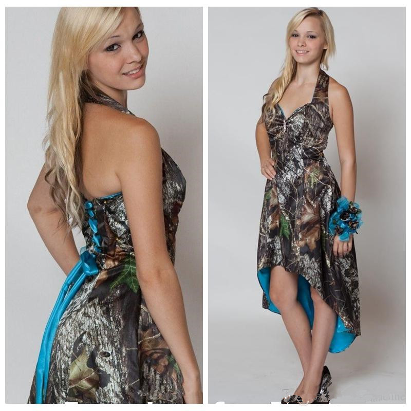 8ac22520fc1 Halter High Low Camo Bridesmaid Dresses on Luulla