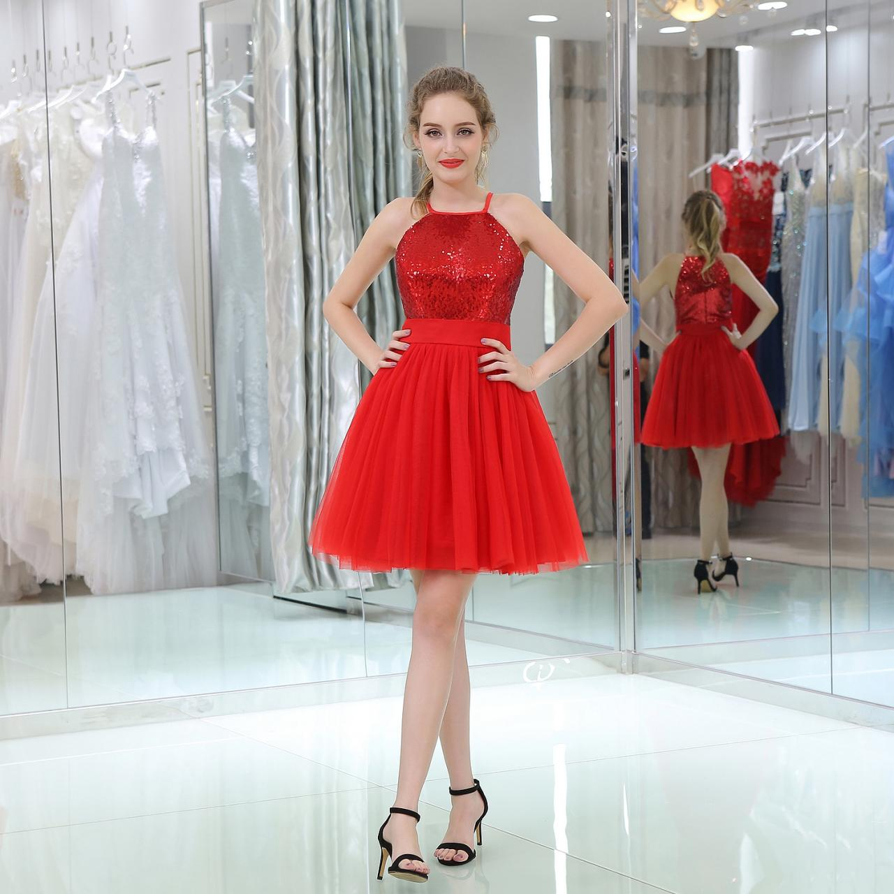 Homecoming Dress,Red Short Homecoming Dresses With Halter Neckline, Short Party Dresses,Cocktail Dresses,Prom Gowns