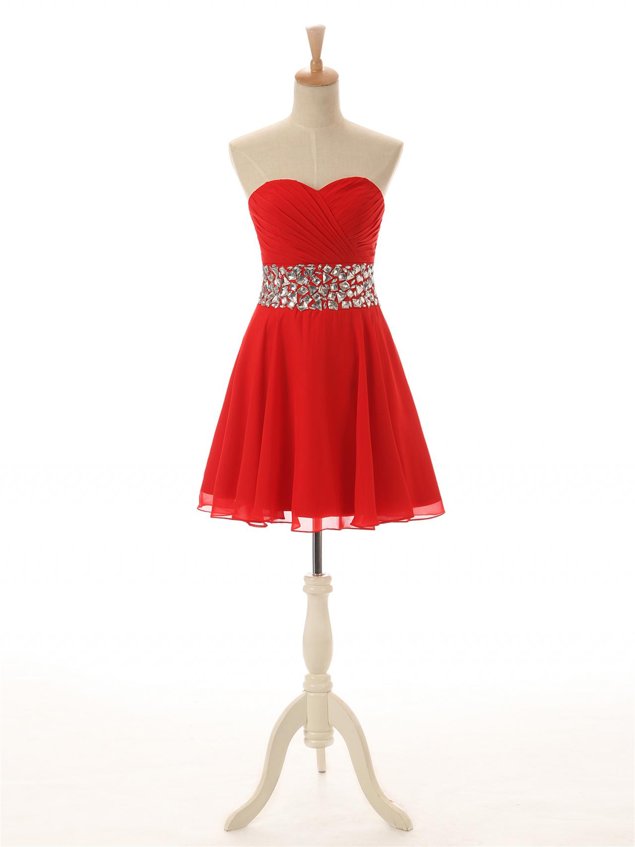 Red Strapless Short Homecoming Dresses