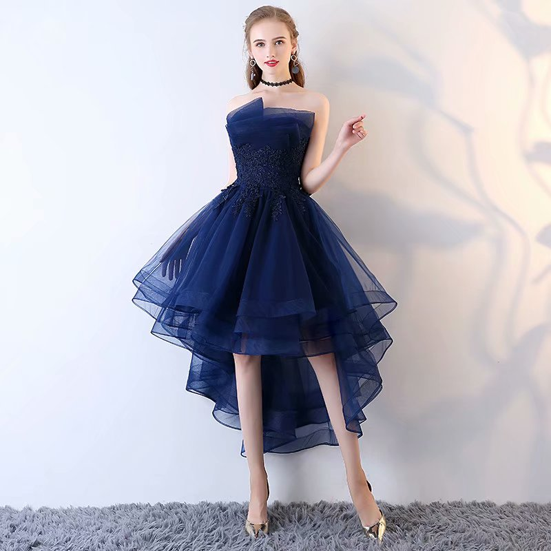 Navy Blue High Low Prom Dress , Graduation Dresses,Short Party Dresses,Tulle Strapless Lace Applique Evening Dresses