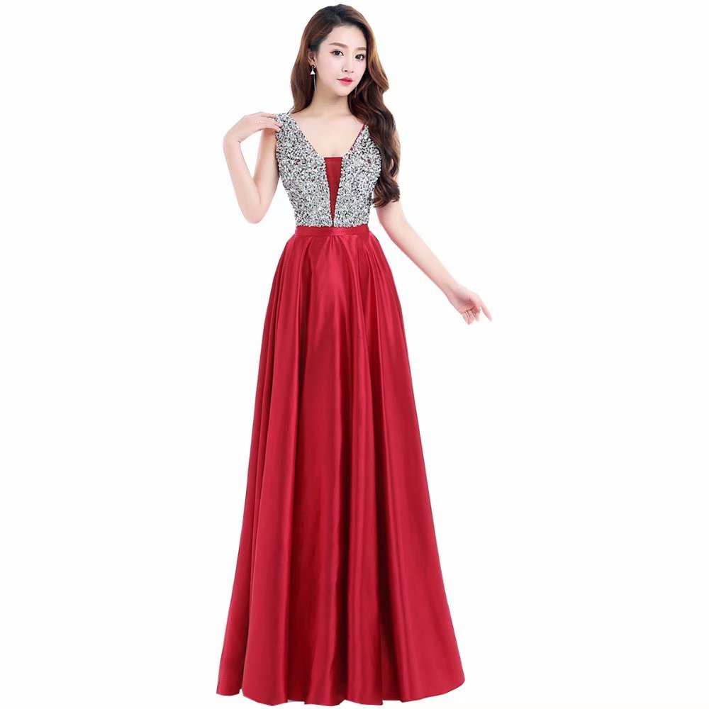 Elegant Prom Dresses Long 2019 Women's Sexy A-line Sleeveless V Neck Red Beading Cheap Evening Party Gowns
