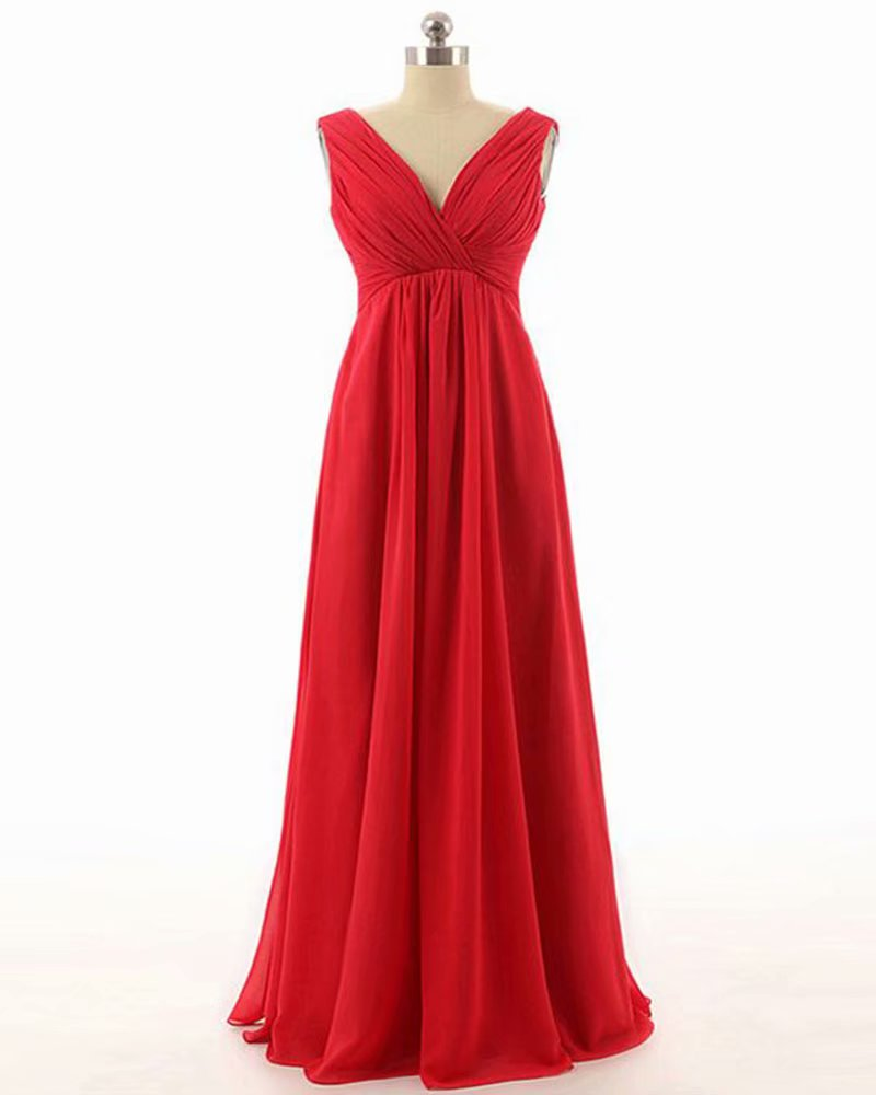 2019 Custom Made Chiffon Prom Dress,V Neck Red Party Dress,Sleeveless Prom Dress,high quality