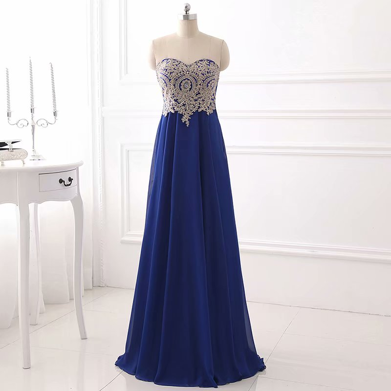 Charming Chiffon Prom Dress,Lace Applique Strapless Chiffon Prom Dresses,Sexy Evening Dress,Long Party Prom Dresses