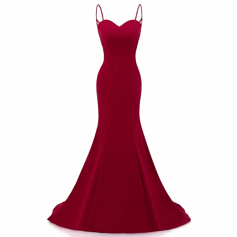 Spaghetti Straps Mermaid Evening Dresses 2019 Burgundy Wedding Party Gown Long Formal Evening Dress