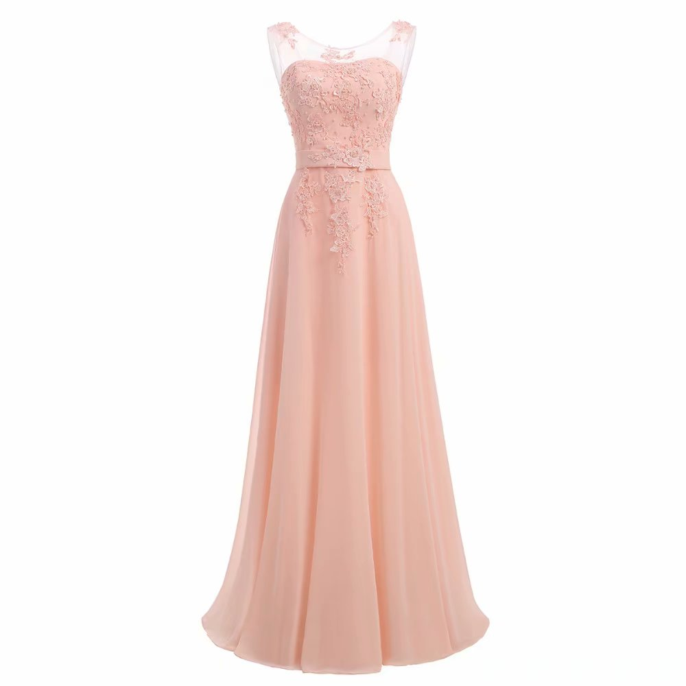 Pink Prom Dresses 2019 Chiffon Formal Wedding Party Dress Long A Line Formal Gowns