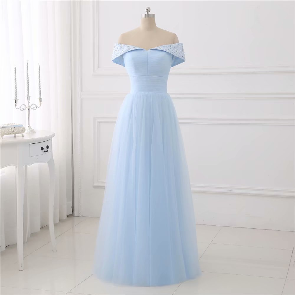 Light Blue Evening Dresses 2019 V Neck Wedding Party Dress Long A Line Formal Evening Gowns