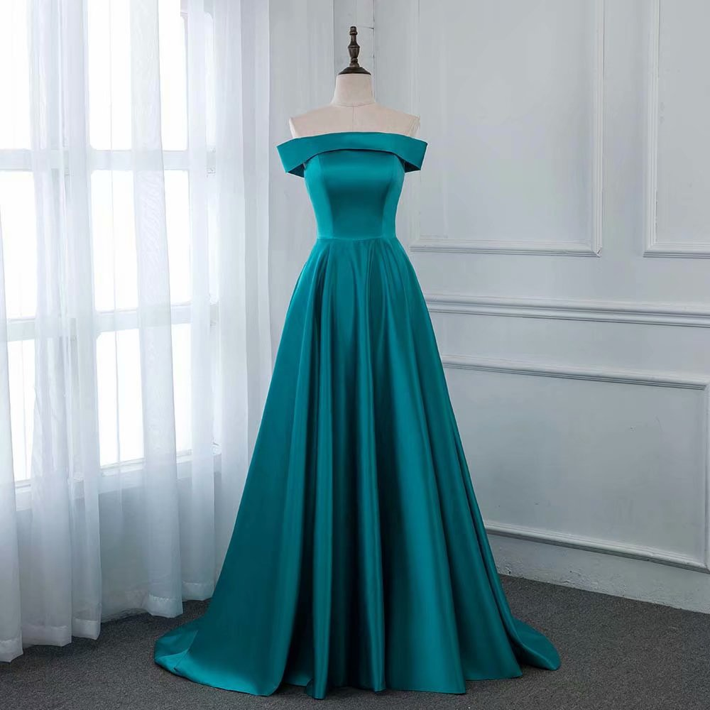 Fashion 2019 Blue Evening Dress Pageant Dresses Boat Neck Fashion Simple Evening Gown Competition Gown Zipper Back