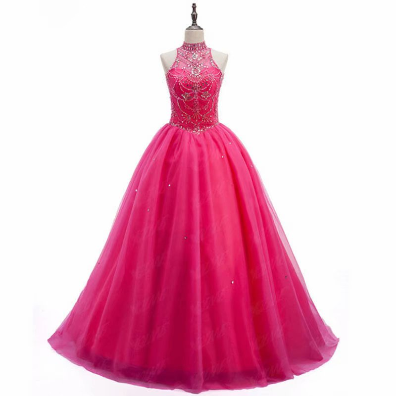 New 2019 Fuschia Evening Dress Pageant Dresses Halter Neck Beading Fashion Evening Gown Beading Tulle Competition Gowns