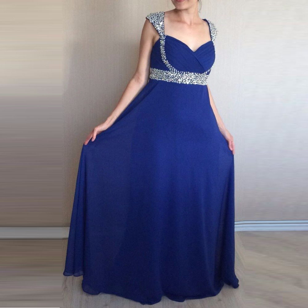 Prom Dresses 2019 Cap Sleeves Beaded Blue Chiffon Evening Gowns Women Bridal Party Dress