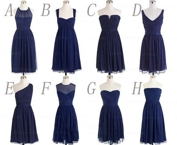 Short Bridesmaid Dresses Navy Blue Chiffon Beach 2017