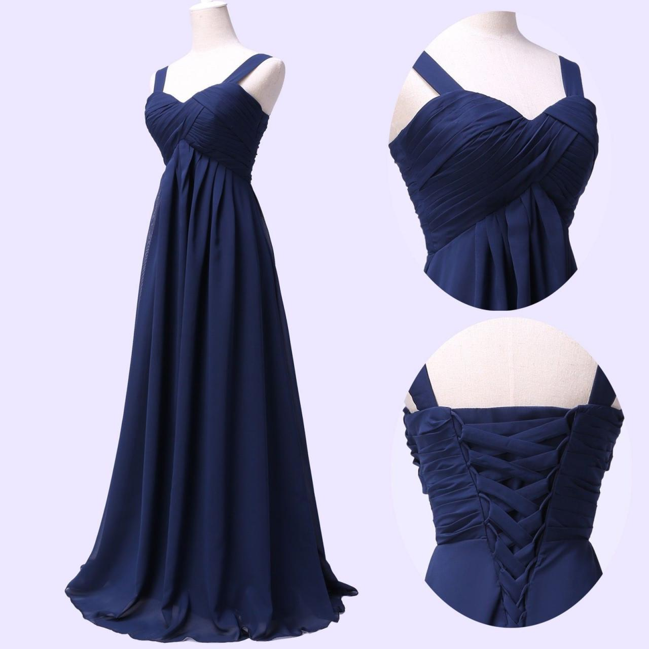 e72d49608d6 Spaghetti Straps Navy Blue Chiffon Bridesmaid Dress