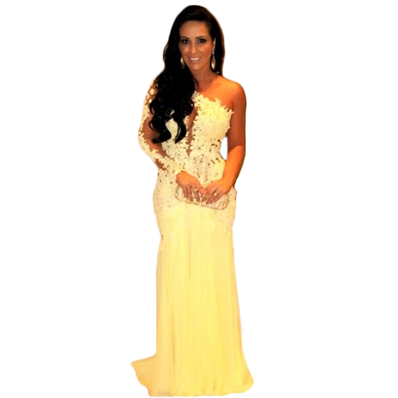 6a8d28d285567 2019 Long Elegant Yellow Prom Dresses, Sexy One Shoulder Backless Prom  Dresses,sexy Long Chiffon Lace Evening Dresses , Formal Prom  Dresses,dresses ...