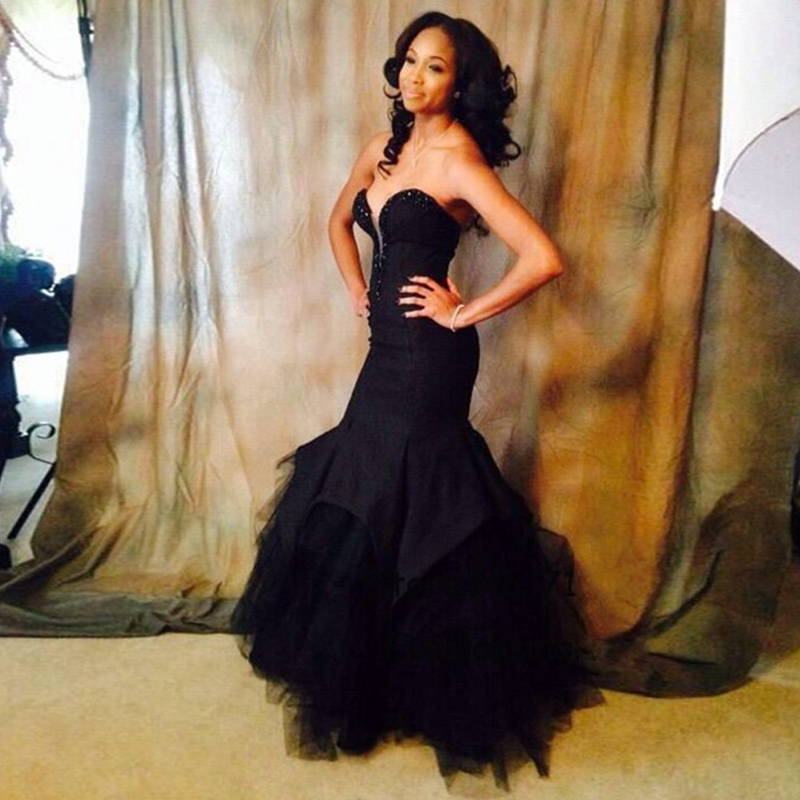 2016 New Arrival Black Mermaid Evening Dresses Sweetheart Tulle Prom