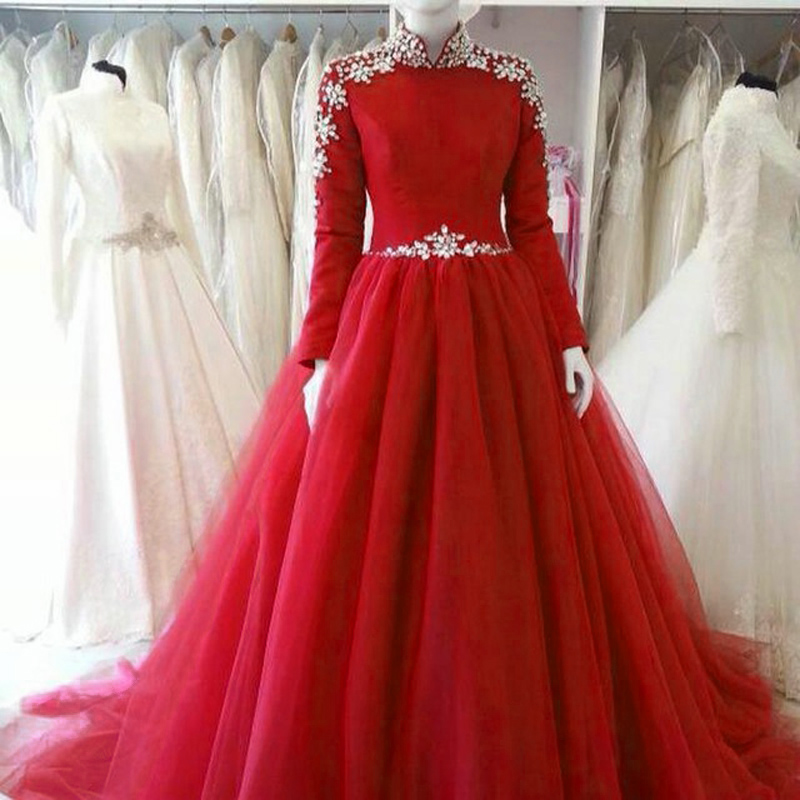 Long Sleeve Red Tulle Bridesmaid Dress,Floor Length Ball Gown Hiigh ...