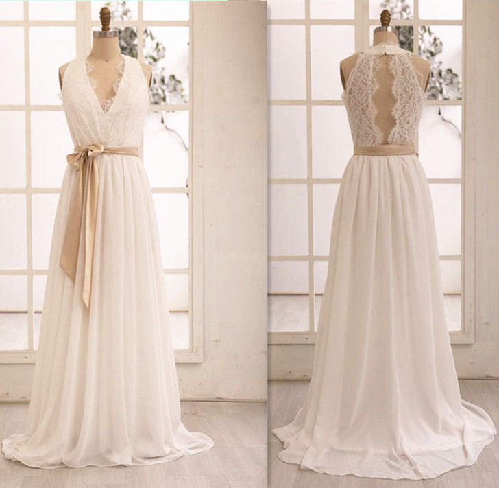 Sexy White Halter Wedding Evening Dresses With Belt Lace Chiffon Long Elegant Prom Dresses 2016 Real Photo Women Party Dresses Formal Gowns