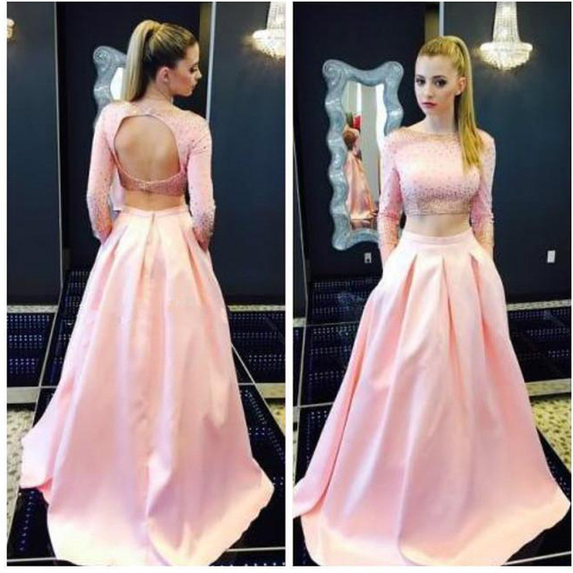 2 Piece Prom Dress Pink Backless Evening Dresses Sexy Long Elegant ...